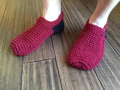 Ahh Spa Slippers for Men | AllFreeCrochet.com ~ easy lvel ~ FREE - CROCHET ~ work in front loops & back loops only