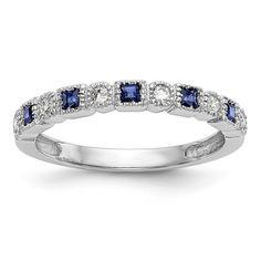 14k White Gold Round Diamond With Square Blue Sapphire Anniversary Ban – Sparkle & Jade