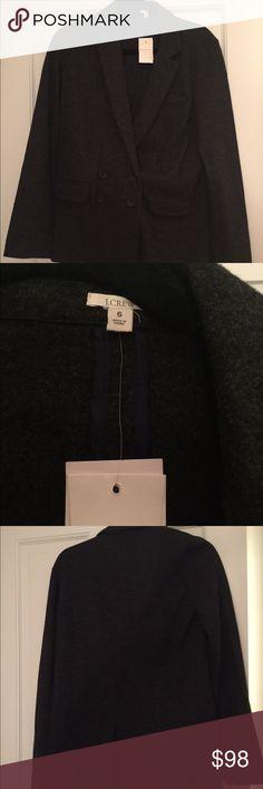 NWT J.Crew Grey Women's Wool Blazer Size 6 NWT J.Crew Grey Women's Wool Blazer Size 6  100% wool Lining 100% polyester  2 buttons 2 pockets MSRP $168 J. Crew Jackets & Coats Blazers