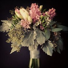 dusty miller, seeded eucalyptus, wax flowers, the grays and silver are so romantic