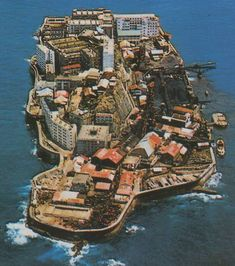 Inspiration for the Island. (Vintage photo of Hashima Island) Abandoned Buildings, Abandoned Places, Hashima Island, Fantasy Castle, City Aesthetic, Osaka, Beautiful Castles, Japan, Countries Of The World