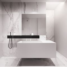white + marble + floating + minimal + hint of black