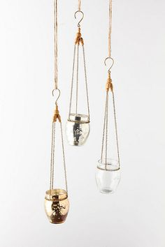 little glass lanterns for tea lights to hang on trees - so cute and pretty!