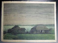 Mito Hinuma(Watercolor of the original painting) / 水戸 涸沼(水彩の肉筆画)