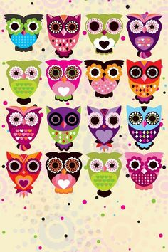DIY this with printed owl designs! I love owl designs, plus I love real owls. I just want one to fly all over the world and bring me back one owl to have two owls. Cute Owls Wallpaper, Cartoon Wallpaper, Iphone Wallpaper, Desktop Backgrounds, Trendy Wallpaper, Hd Desktop, Iphone Cartoon, Owl Cartoon, Owl Background