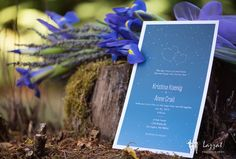 Lazzat Photography | Darrington, WA Wedding | LGBT | Blue Irises | Invitation Card