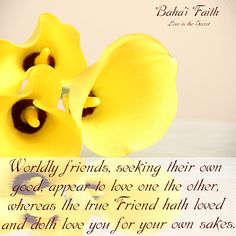 Worldly friends, seeking their own good, appear to love one the other, whereas the true Friend hath loved and doth love you for your own sakes. Baha'i Faith  The Hidden Words (persian)No: 52 Music by: Luke Slott Free listening at:http://lukeslott.bandcamp.com/track/i-love-you-for-your-sake  Source:http://www.bahairesearch.com/