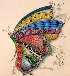 Colored butterfly zentangle-drawing by David Feldkamp. Doodles Zentangles, Zentangle Patterns, Art Papillon, Tangle Art, Illustration, Wow Art, Art Plastique, Mandala Art, Doodle Art