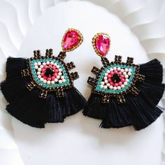 Bohemian Real Ostrich Feather Dangle Earrings for Women with Shell Beads Long Tassel Design Drop Earrings (Color) – Fine Jewelry & Collectibles Feather Earrings, Fashion Earrings, Earrings Handmade, Women's Earrings, Handmade Jewelry, Eye Jewelry, Bead Jewellery, Jewelry Gifts, Beaded Jewelry