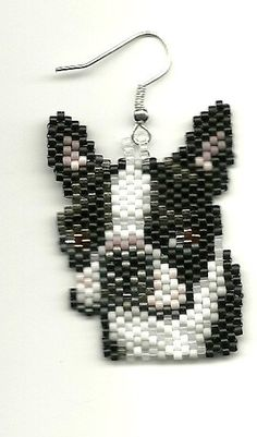 Hand beaded sweet little Boston Terrier dog head by jjsims43