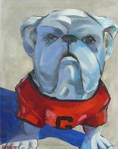 Bulldog Statue, Baxter Street Bookstore by Nancy Everett Oil ~ 14 x 11