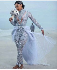 Designer of Wedding Gowns, Evening Dresses & Replications pant suits for your are an option with our design firm. This long sleeve ensemb Latest Wedding Gowns, Best Wedding Dresses, Bridal Dresses, Bridesmaid Dresses, Wedding Reception Outfit, Wedding Attire, Reception Dresses, Wedding Ideas, Gown Wedding