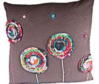 Flower fabric square cushion