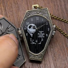 Hot! The Burton's Nightmare Before Christmas Pocket Watch Necklace Chain