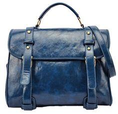 Blue Metal Buttons Zipper Pu Leather Shoulder Bag #bags, #fashion, #pinsland, https://apps.facebook.com/yangutu