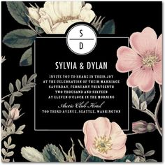 Night Blossoms - Signature White Wedding Invitations in Black or White | Baumbirdy
