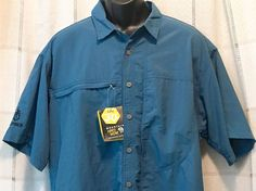 New Mountain Hardwear Shirt Mens UPF 30 Gerber Canyon Hiking Backpacking Blue #MountainHardwear #ButtonFront