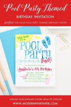 Pool party invitations, Pool party birthday invitations, Kids birthday party invitations