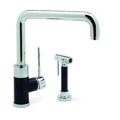 Blanco 440602 Purus I Single Handle Kitchen Faucet With Metal Side Spray In Chrome/Anthracite Mix