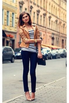 Camel leather jacket and striped tee.