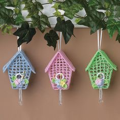 Would love to find a pattern for something like these Crocheted Birdhouse Ornaments - TerrysVillage.com