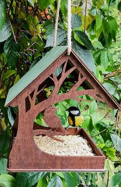 Your place to buy and sell all things handmade Bird feeder / Birdhouse / Garden decor / Wooden bird feeder Wood Bird Feeder, Bird Feeder Plans, Bird House Feeder, Garden Bird Feeders, Bird House Plans, Bird House Kits, Bird Tables, Bird Houses Diy, Homemade Bird Houses