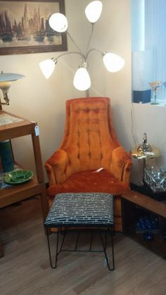 Miscellaneous items available for purchase @ Mod Makes It!,  in Golden, CO  303-990-5893 - Orange Chair and Black and White Stool $$$OLD$$$