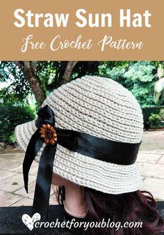Crochet Straw Sun Hat Free Pattern - Crochet For You Crochet Pig, Crochet Beanie Pattern, Easy Crochet Patterns, Crochet Stitches, Free Crochet, Crochet Hats, Hat Patterns, Crochet Snowman, Knitting Hats