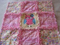 Darling Owl Baby Girl Security or Lovey Rag Blanket or Mini Quilt.  via Etsy.
