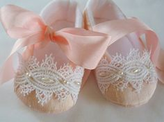 Pink Silk Dupioni with Silk Ribbon and Beaded Trim Baby Shoes - $30.00