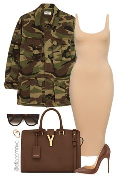 """""""Camo'd"""" by efiaeemnxo ❤ liked on Polyvore featuring Yves Saint Laurent, CÉLINE, Christian Louboutin and Cartier"""