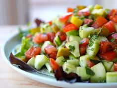 Israeli Salad with Pickles and Mint - Healthy Recipe