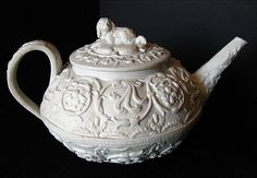 Wedgwood Teapot, Dry Body with Spaniel Finial, Antique Marked Wedgwood Only