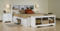 Storage Platform Bedroom Sets : Bedroom Furniture Design Idea Using White Bed Frame Designed With Shelf Headboard And White Bedside Tables Designed With Drawers And Small Table Lamps Complete With Bunk Shelf And Cream Rug On The Maple Wood Floor