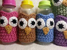 Crochet Owl Baby Bottle Cozy by Michele Gaylor