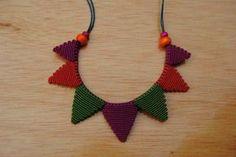 collar triángulos de macramé hilo encerado,cordón de algodón,cuentas de madera macramé