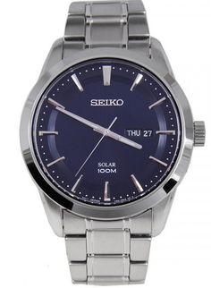 Montre Homme Seiko Solar SNE361P1, bracelet et boîtier acier, cadran bleu.