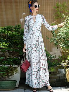 Elegant Hollow Out Long Sleeve Floral Print Maxi Dress; Size: S,M,L,XL; Color: White; Material: Polyester; Material: Chiffon; Style: Vintage; Silhouette: A-Line Dresses; Pattern Type: Print; Decoration: None; Dresses Length: Ankle-Length; Sleeve Style: Regular; Sleeve Length: Full; Waistline: Empire; Neckline: O-Neck; ; Price: US$ 74.99