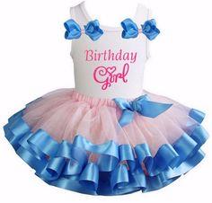 Tutu Satijn Serenity Rose Quartz + top Birthday Girl