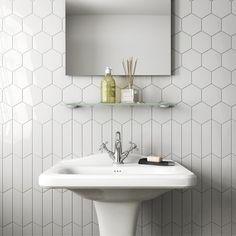 lowes ceramic tile bathroom wall ceramic tiles ceramic tile bathrooms a chevron wall white scale hexagon white bathroom lowes ceramic tile mortar Hexagon Wall Tiles, Hex Tile, Rhombus Tile, Tiling, Honeycomb Tile, Tiles Uk, Subway Tile, Hexagon Tile Bathroom Floor, Hexagon Tile Backsplash