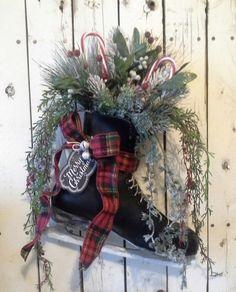 Wreath, Ice Skate, Holiday Skate, Christmas Skate, Decoration, Door decor, wall decor, Rustic Cottage, Black skate by SavannahsCottage on Etsy https://www.etsy.com/listing/212607497/wreath-ice-skate-holiday-skate-christmas