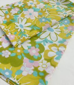 floral pillowcases pair in chartreuse aqua by i love vintage pillow cases