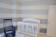 My grey ombre striped nursery walls.