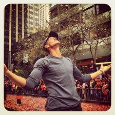 10/31/12. Brad Mangin captures Hunter Pence soaking in the confetti during the 2012 San Francisco Giants World Series parade on Market Street.  (Pence had thrown his jacket into the crowd earlier in the day!)