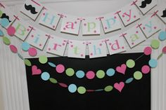 Mustache Birthday Party Banner with Garlands -Mustache Party Decorations - Girls Brithday Package-Adult or Kids Birthday Banner/Garlands