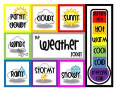 Here's a weather poster where students use clothespins to document the weather of the day.