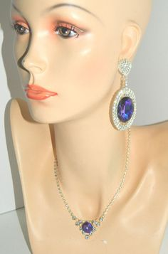 Vtg Aurora Borealis Amethyst Rhinestone Statement Necklace+Earrings Marriage Set #Unbranded