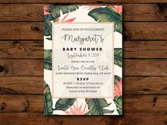Tropical Palm Gender Neutral Baby Shower Invitation (Digital, Printable) by PaperTrailMarket on Etsy https://www.etsy.com/au/listing/506574051/tropical-palm-gender-neutral-baby-shower