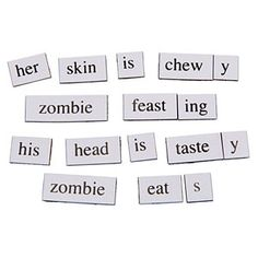 Zombie Magnetic Poetry Kit- Make your own using a label maker and a roll of self-adhesive magnet strip