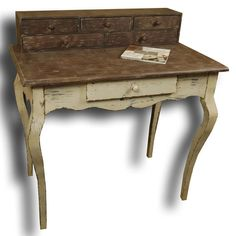 ONE ONLY ~ distressed ivory writing table with drawer unit. Designed by French brand Clémentine Création.